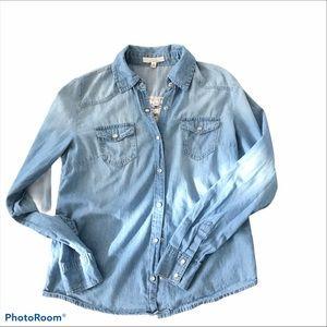 Iris Los Angeles Lace Chambray Shirt